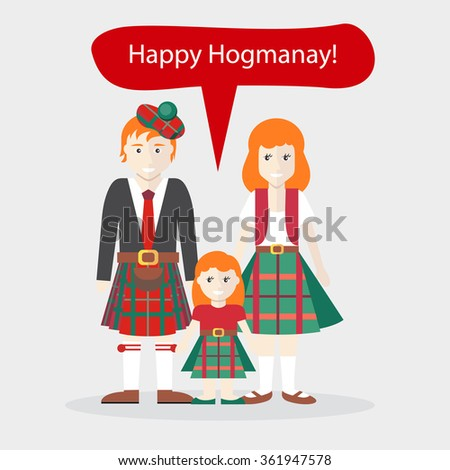 Scots people congratulations happy new year stock illustration scots people congratulations happy new year holiday and native language and clothes speech bubble m4hsunfo