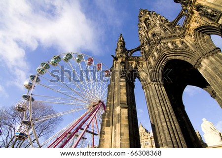 Scott Monument - wintertime Edinburgh - stock photo