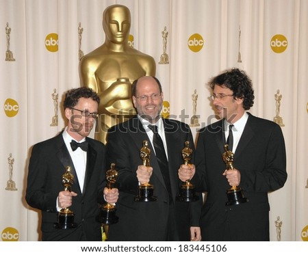 Scott Rudin, producer, center, Ethan Coen, Joel Coen, winners, Best Achiement in Directing, Best Motion Picture of the Year, Best Screenplay, NO COUNTRY FOR OLD MEN, Los Angeles, February 24, 2008