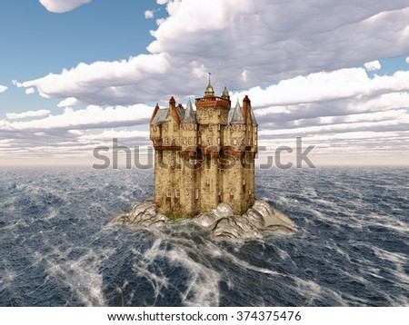 Scottish castle in the sea Computer generated 3D illustration - stock photo
