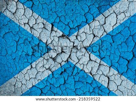 Scottish flag on a cracked grunge background - stock photo