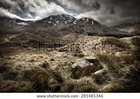 Scottish Highlands Landscape. Mountain range, UK - stock photo