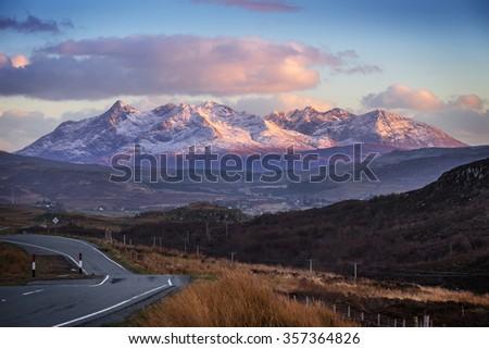 Scottish highlands. The mountains of Glamaig at sunset on the Isle of Skye, Scotland, UK - stock photo