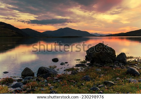Scottish landscape during twilight  - stock photo