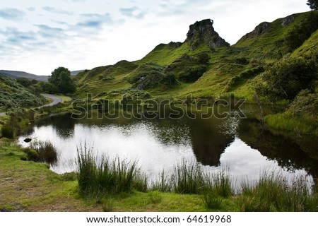 Scottish landscape in a cloudy day - Sutherland region - stock photo