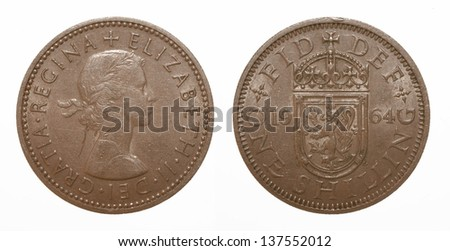 Scottish lion rampant coat of arms 1964 Elizabeth II One Shilling Coin - stock photo