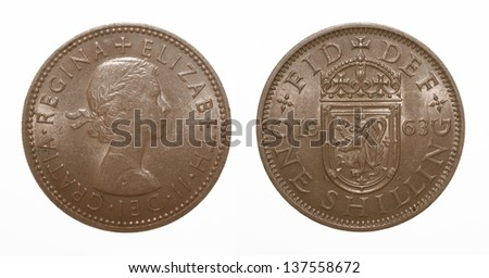 Scottish lion rampant coat of arms 1963 Elizabeth II One Shilling Coin - stock photo