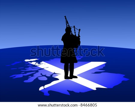 scottish man in kilt playing bagpipes standing on map of scotland JPG - stock photo