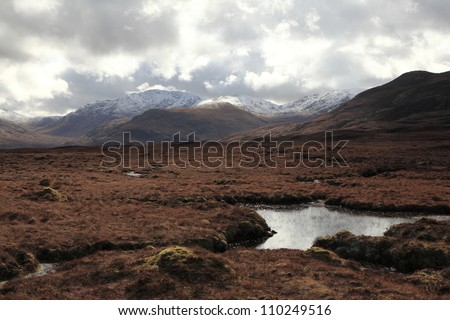Scottish moors and mountains - stock photo