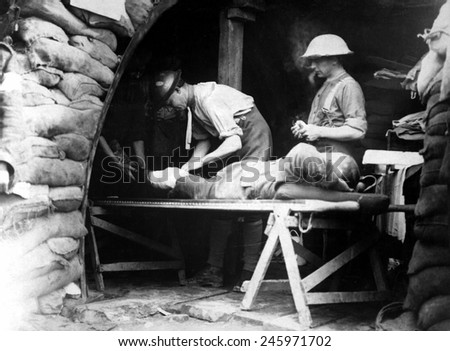 Scottish territorials being examined in a dressing station during Battle of Menin Road in Belgium. WWI, 1914. - stock photo