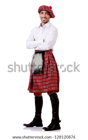 Scottish traditions concept with person wearing kilt - stock photo