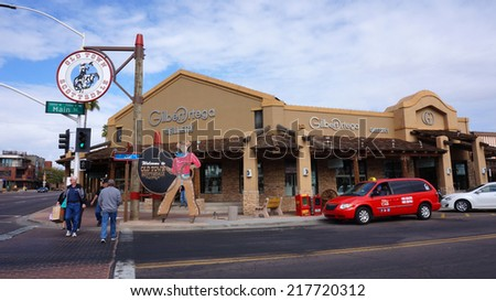 SCOTTSDALE , ARIZONA - FEB 06 : The Welcome to Old Town Scottsdale sign in Scottsdale Arizona on February 06 2014 .The Old Town is the main tourist attraction of Scottsdale - stock photo