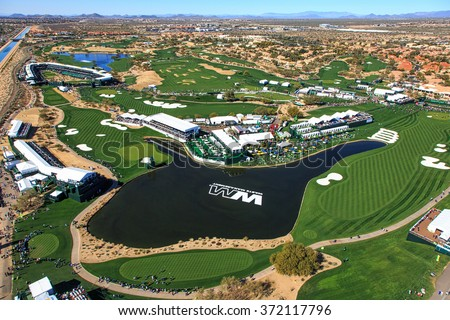 SCOTTSDALE, ARIZONA, USA-FEBRUARY 3, 2016-Aerial view of the Waste Management Phoenix Open on FEBRUARY 3, 2016 in Scottsdale, Arizona at the Tournament of Players Club Scottsdale (TPC) - stock photo
