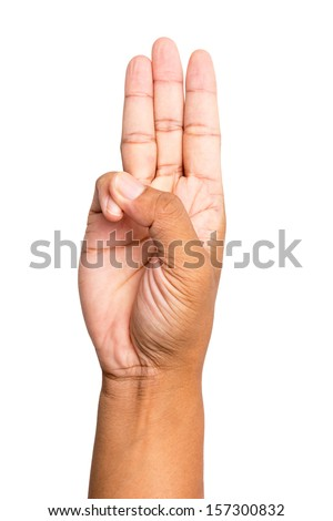 Scout honor hand gesture - stock photo