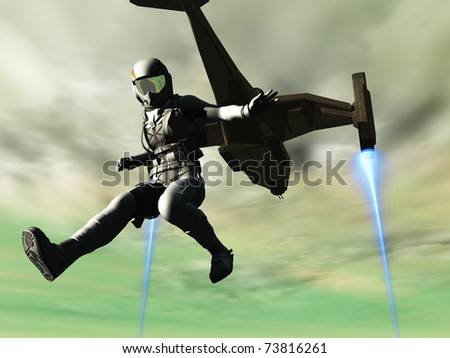 Scout jumps from shuttle - stock photo