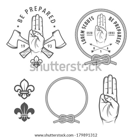 Scout symbols and design elements - stock photo