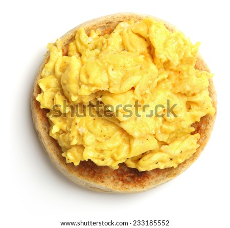 Scrambled eggs on toasted muffin.