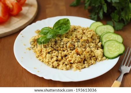 Scrambled tofu with vegetables. Vegan cooking