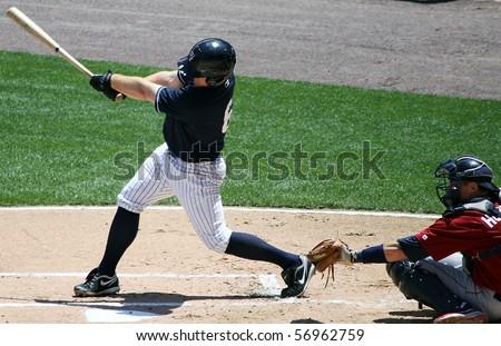 SCRANTON - JULY 11:Scranton Wilkes Barre Yankees Robbie Hammock  swings in a game against Scranton Wilkes Barre Yankees in a game at PNC Field July 11, 2010 in Scranton, PA - stock photo