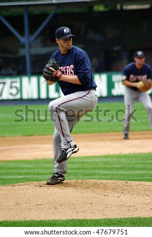 SCRANTON - JUNE 26: Columbus Clippers' pitcher delivers a pitch in a game against Scranton Wilkes Barre   at PNC Field June 26, 2008 in Scranton, PA - stock photo