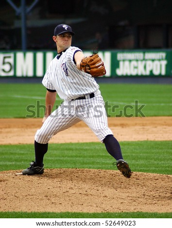 SCRANTON - JUNE 26: Scranton Wilkes Barre Yankees pitcher delivers a pitch in a game against the Columbus Clippers in a game at PNC Field June 26, 2008 in Scranton, PA