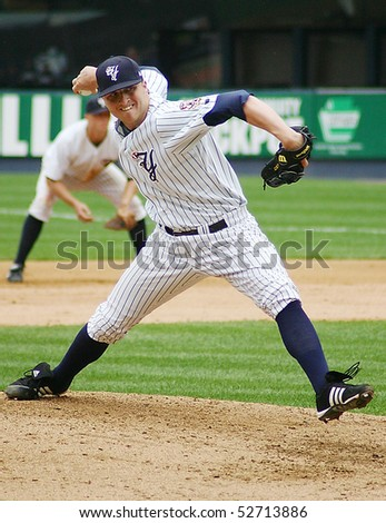 SCRANTON - JUNE 26: Scranton Wilkes Barre Yankees pitcher delivers a pitch in a game against the Columbus Clippers in a game at PNC Field June 26, 2008 in Scranton, PA - stock photo