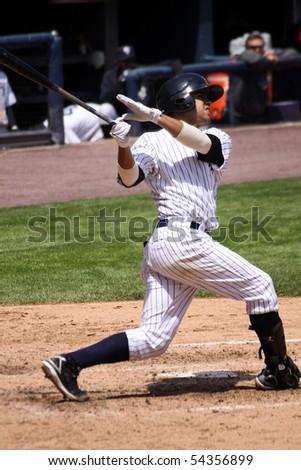 SCRANTON - MAY 13: Scranton Wilkes Barre Yankees batter swings in a game against Columbus Clippers in a game at PNC Field May 13, 2010 in Scranton, PA - stock photo