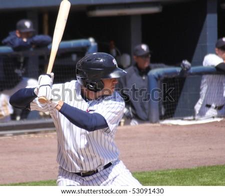 SCRANTON - MAY 13: Scranton Wilkes Barre Yankees Chad Huffman bats in a game against Columbus Clippers in a game at PNC Field May 13, 2010 in Scranton, PA - stock photo