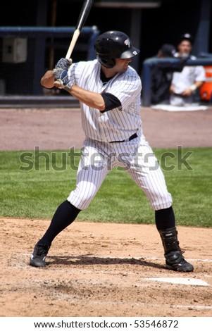 SCRANTON - MAY 13: Scranton Wilkes Barre Yankees David Winfree bats in a game against Columbus Clippers in a game at PNC Field May 13, 2010 in Scranton, PA - stock photo