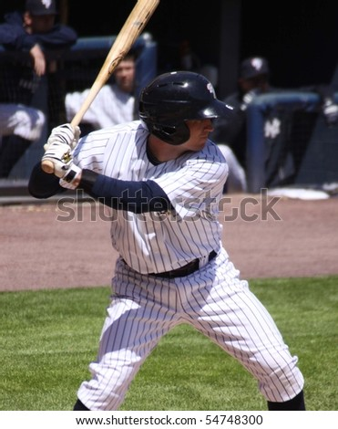 SCRANTON - MAY 13: Scranton Wilkes Barre Yankees Robbie Hammock bats in a game against the Columbus Clippers at PNC Field May 13, 2010 in Scranton, PA - stock photo
