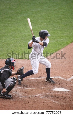 SCRANTON, PA - APRIL 24: Scranton Wilkes Barre Yankees Jose Gil takes bats during a game against the Syracuse Skychiefs at PNC Field on April 24, 2011 in Scranton, PA - stock photo