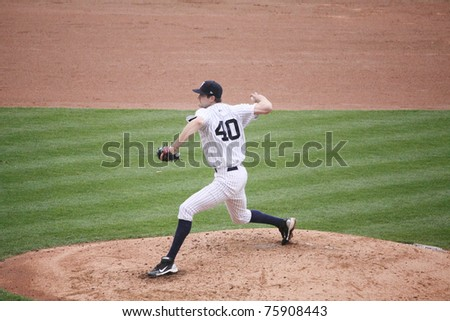 SCRANTON, PA -April 24: Scranton Wilkes Barre Yankees pitcher Andrew Brackman throws a pitch against the Syracuse Skychiefs at PNC Field  on April 24, 2011 in Scranton, Pa. - stock photo