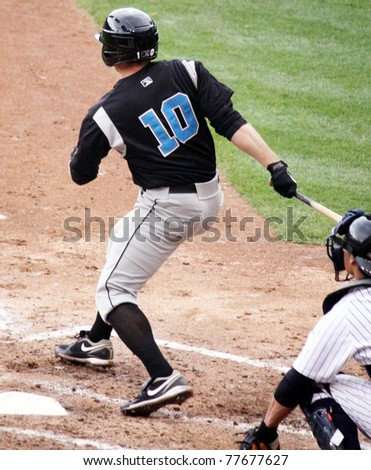SCRANTON, PA - APRIL 24: Syracuse Skychiefs' Michael Aubrey watches his hit during a game against the Scranton Wilkes Barre Yankees at PNC Field on April 24, 2011 in Scranton, PA - stock photo