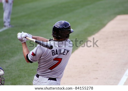 SCRANTON, PA - AUGUST 24: Rochester Red Wings batter Jeff Bailey swings at a pitch during a game against the Scranton Wilkes Barre Yankees at PNC Field on August 24, 2011 in Scranton, PA. - stock photo
