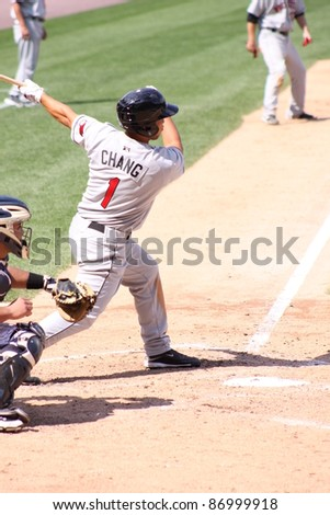 SCRANTON, PA - AUGUST 24: Rochester Red Wings batter Ray Chang at the plate during a game against the Scranton Wilkes Barre Yankees at PNC Field on August 24, 2011 in Scranton, PA. - stock photo