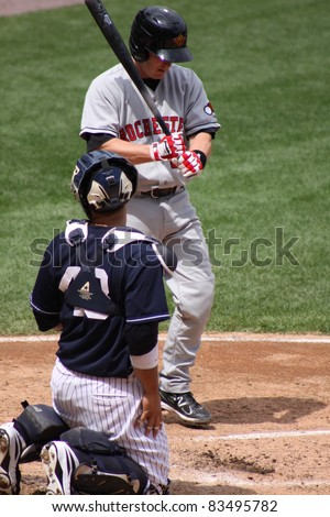 SCRANTON, PA - AUGUST 24: Rochester Red Wings batter Steve Holm steps to the plate during a game against the Scranton Wilkes Barre Yankees at PNC Field on August 24, 2011 in Scranton, PA. - stock photo