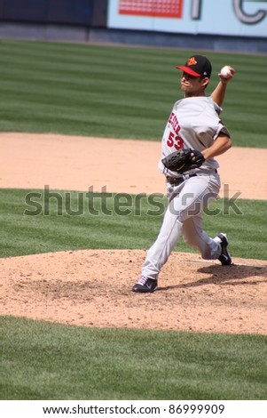 SCRANTON, PA - AUGUST 24: Rochester Red Wings pitcher Carlos Gutierrez fires a pitch during a game against the Scranton Wilkes Barre Yankees at PNC Field on August 24, 2011 in Scranton, PA. - stock photo