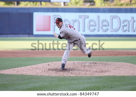 SCRANTON, PA - JULY 9: Rochester Red Wings pitcher Jake Stevens follows through on  a pitch in a game against the Scranton Wilkes Barre Yankees at PNC Field on July 9, 2011 in Scranton, PA.
