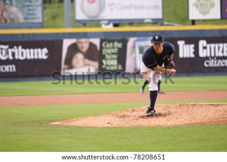 SCRANTON, PA - MAY 24: Scranton Wilkes Barre Yankees pitcher Adam Warren  throws a pitch during a game against the Indianapolis Indians at PNC Field on May 24, 2011 in Scranton, PA. - stock photo