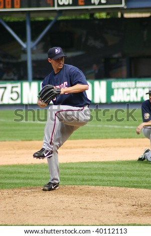 SCRANTON PENNSYLVANIA - JUNE 26: Columbus Clippers pitcher fires the ball against the Scranton/Wilkes Barre Yankees in a game at PNC Field June 26, 2008 in Scranton, PA.