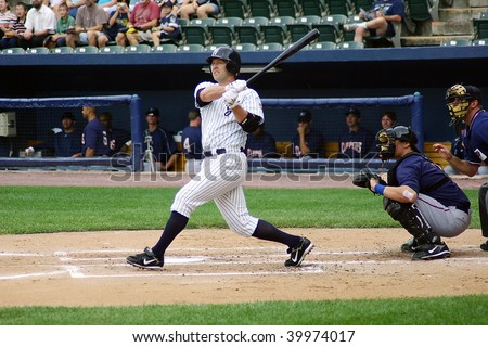 SCRANTON PENNSYLVANIA - JUNE 26: Scranton Wilkes Barre Yankees batter swings at a pitch against the Columbus Clippers in a game at PNC Field June 26, 2008 in Scranton, PA. - stock photo