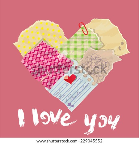 Scrap booking Heart is made of Vintage Old Paper pieces and grunge handwritten text I love you. St Valentine's day design. Raster version - stock photo