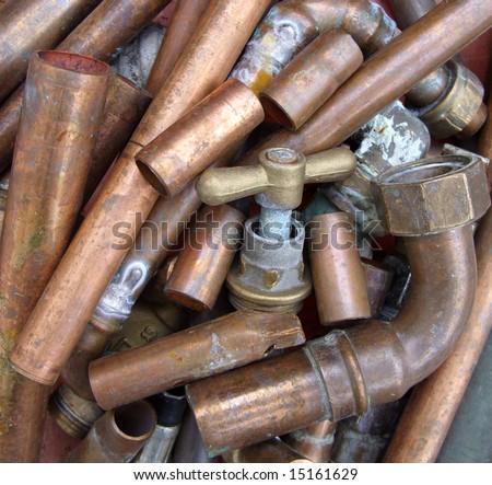 Scrap copper metal. - stock photo