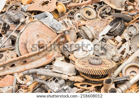 scrap iron unused, rubble, remnant of iron texture, background - stock photo