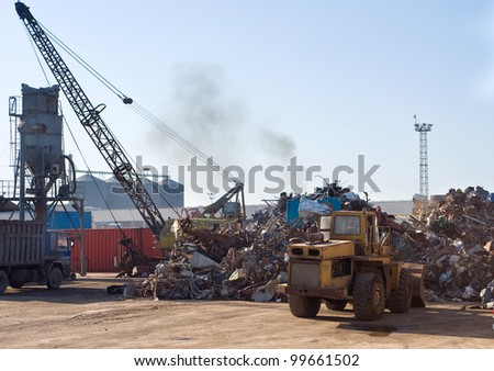 Scrap metal and iron dump, port of Famagusta, North Cyprus - stock photo