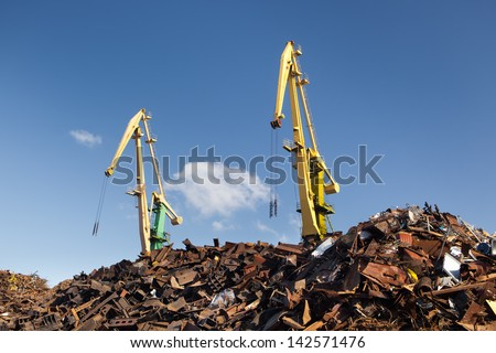 scrap metal loading - stock photo