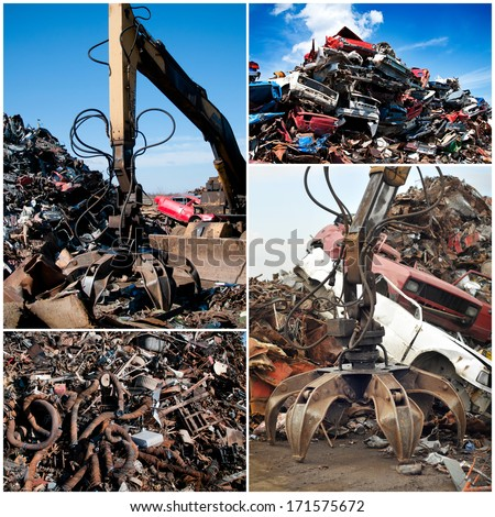 Scrap Metal Pile - Collage - stock photo