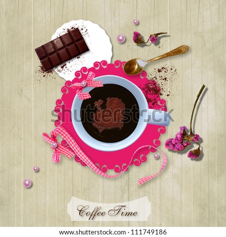 Scrap template of vintage design. A cup of coffee with a delicious chocolate for breakfast - stock photo