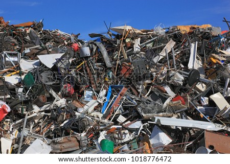 Scrap yard, metal rubbish stock in a recycling company