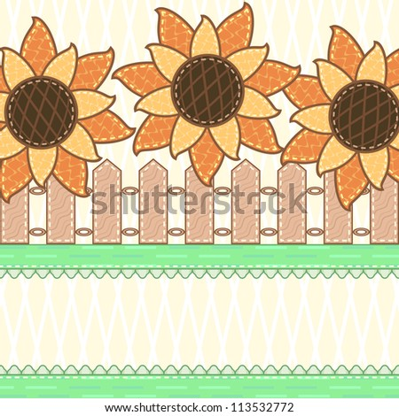 Scrapbook country background with blooming sunflowers and wooden fence - stock photo